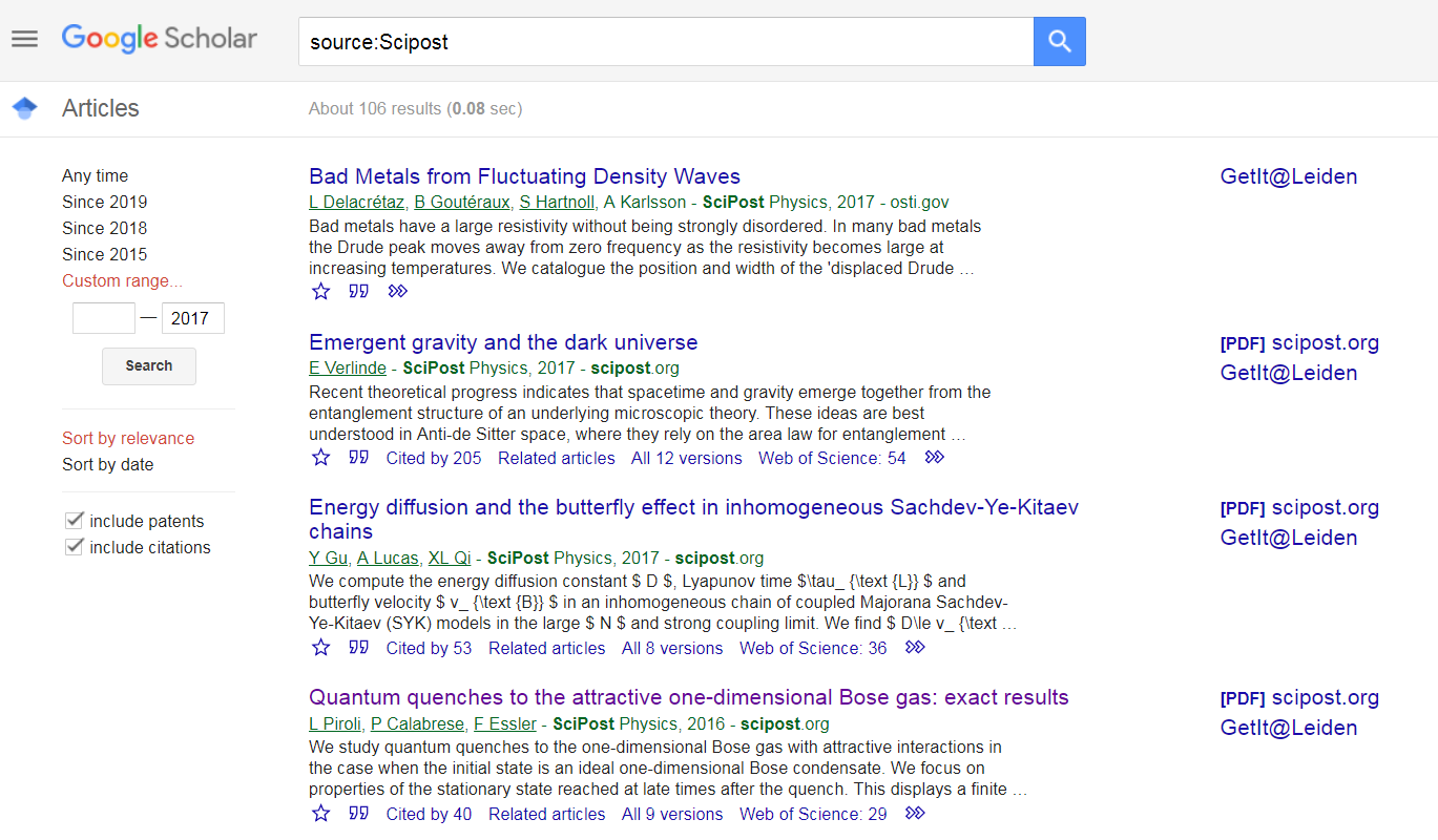 SciPost's articles are cited many times in Google Scholar.